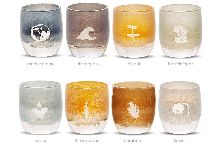 "glassybaby's ""Nature Is Speaking"" series of votives"