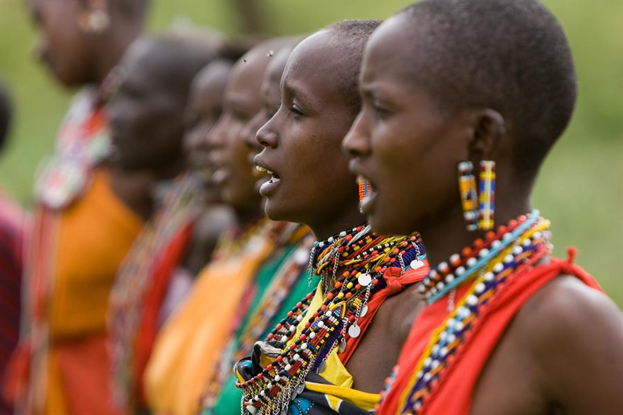 Maasai women singing.