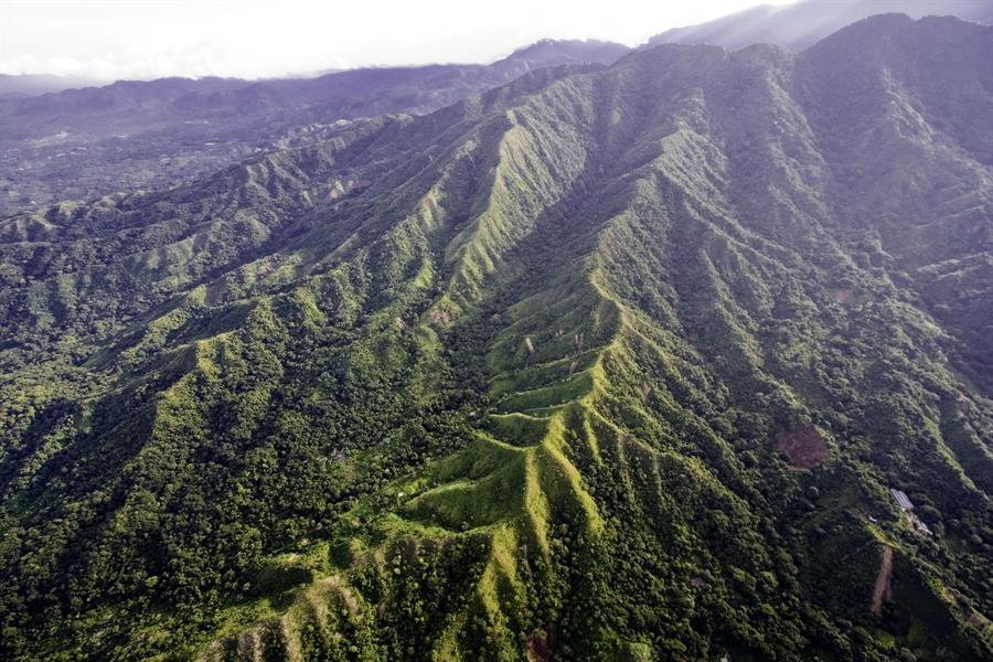 Bare hillsides and erosion in the Sierra Nevada de Santa Marta, Colombia, South America