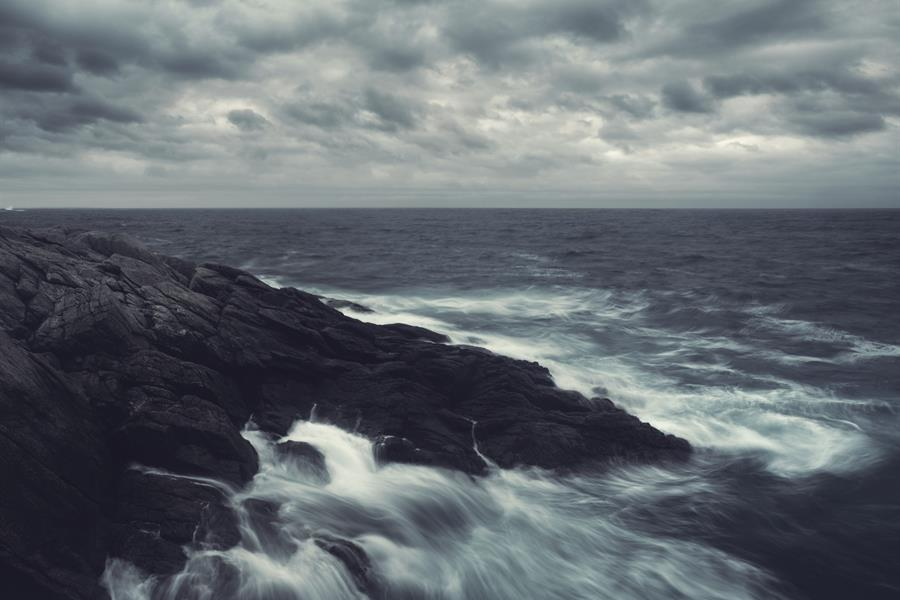 Dark and stormy ocean off the coast of Canada.
