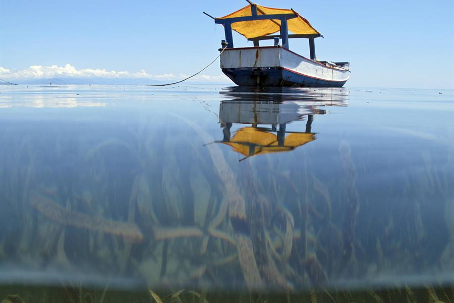 A local fisherman's boat is shown in the waters off Atauro Island, Timor-Leste.
