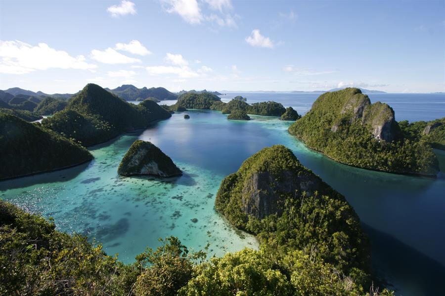 Reefs in Wayag Lagoon, Indonesia.