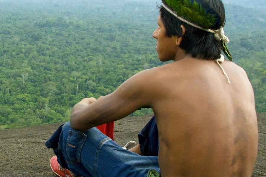 Kayapo man on top of mountain with forest.