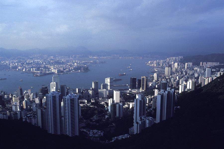 View of the Hong Kong skyline