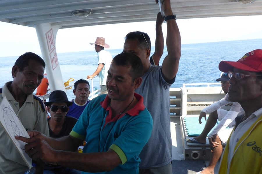 CI Timor-Leste Marien Programme Manager teaches local trainees how to approach cetaceans.