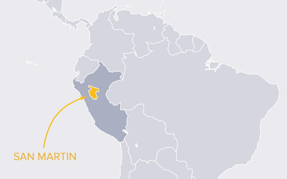 Map of the San Martín region of northern Peru