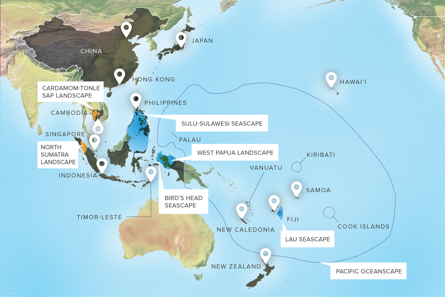 A map of Conservation International's offices throughout the Asia-Pacific region