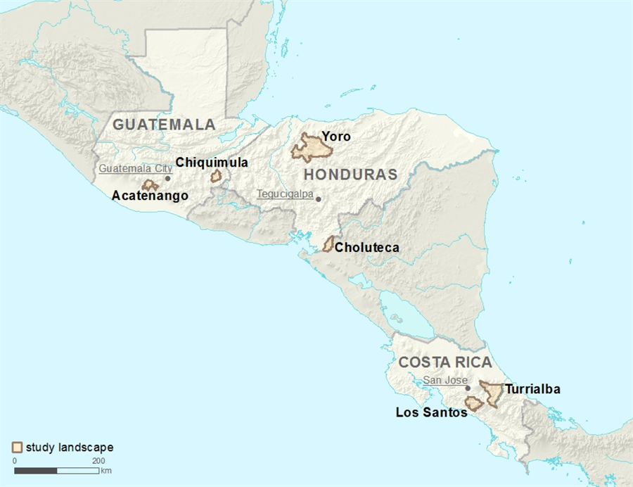 Location of the six agricultural landscapes in Central America where the CASCADE project studied smallholder farmer adaptation to climate change. Map prepared by Kellee Koenig.