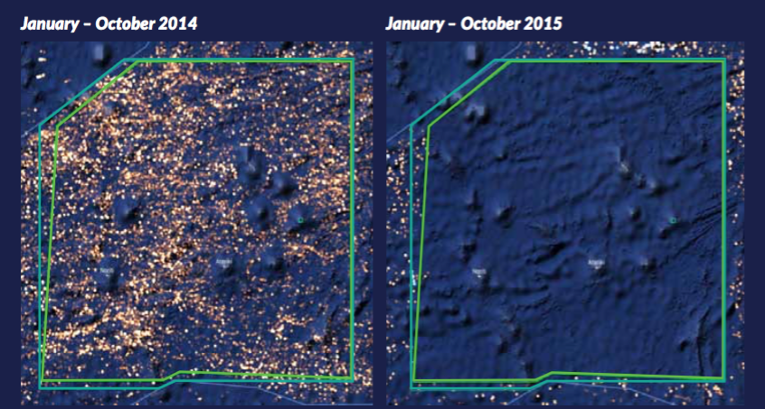 Comparative satellite image illustrating the drastic reduction of fishing vessels within the Phoenix Islands Protected Area between 2014 and 2015
